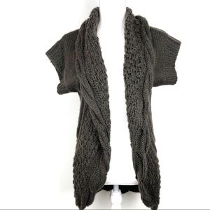 Wow Couture Brown Open Circle Chunky Knit Cardigan
